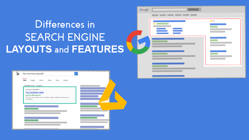 Differences in search engine layouts and features